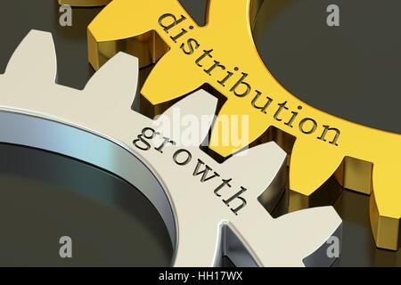 Concept de croissance de la distribution sur les roues dentées, 3D Rendering Banque D'Images