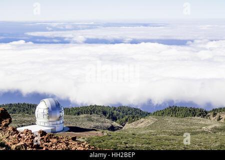 Vue de l'Observatoire du Mirador del Roque de los Muchachos. Le plus haut sommet de La Palma dans les îles Canaries, Espagne.