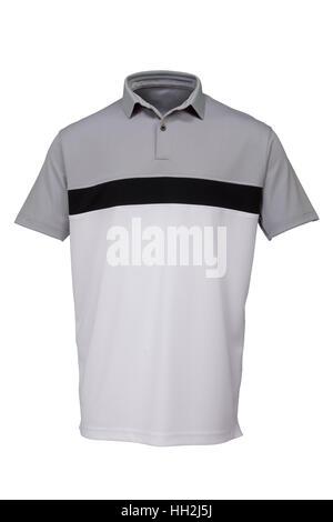 Gris, noir et blanc golf tee shirt pour homme sur fond blanc Banque D'Images
