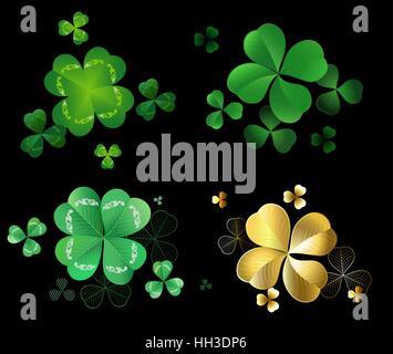 Ensemble de feuilles d'or et vert trèfle à trois et quatre feuilles sur fond noir . Banque D'Images
