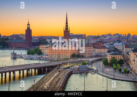 Stockholm. Cityscape image de Stockholm, Suède pendant le coucher du soleil. Banque D'Images