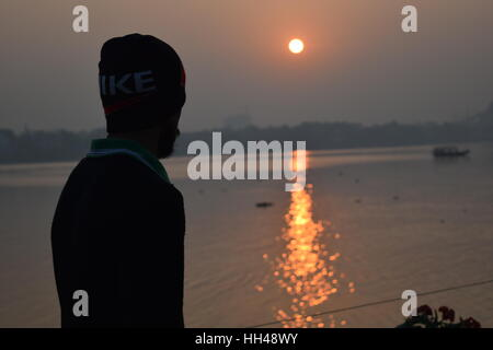 vue du coucher du soleil... Banque D'Images
