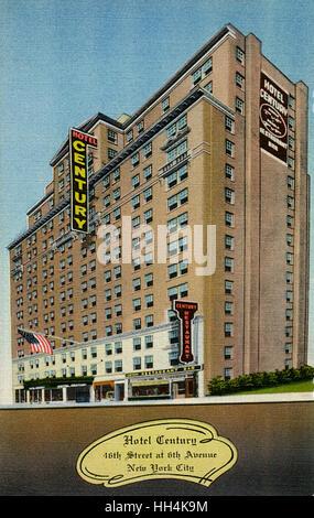 Hotel Century à la 16e Rue à la 6e Avenue, entre le Radio City et Times Square à New York City, USA. L'hôtel offre 350 chambres chacune avec salle de bain et douche sur 16 étages.