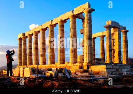 Ruines du temple de Poséidon au Cap Sounion, péninsule de l'Attique, Grèce Banque D'Images