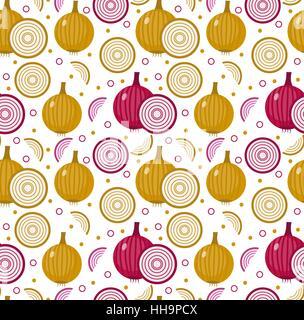 Les oignons. transparente Oignon bulbe, l'arrière-plan sans fin de texture. Les légumes . Vector illustration Banque D'Images