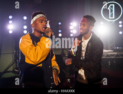 Ils effectuent à Radio 1's'Avenir des vedettes de la musique live Event à Maida Vale Studios, Londres. Banque D'Images