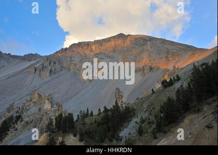 Alpes, France, l'érosion, coucher de soleil, les intempéries, les montagnes, le coucher du soleil, l'Europe, Banque D'Images