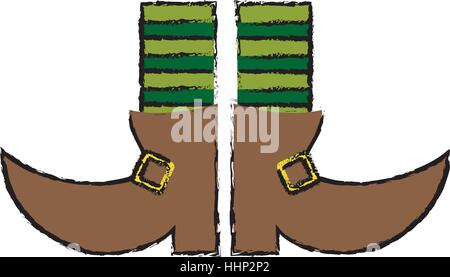 Boot leprachaun chaussettes rayures cartoon st patrick day Banque D'Images