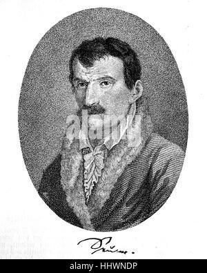 Johann Gottfried Seume, 29 janvier 1763 - 13 juin 1810, était un auteur allemand, image historique ou illustration, publié 1890, l'amélioration numérique