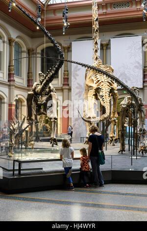 Berlin. L'Allemagne. Museum für Naturkunde, les visiteurs dans la salle des dinosaures. Banque D'Images