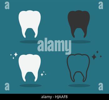 Ensemble de quatre dents blanchissant vecteur illustration sur fond bleu turquoise. Banque D'Images