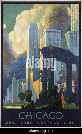 Chicago - Vintage travel poster 1920 1940 Banque D'Images