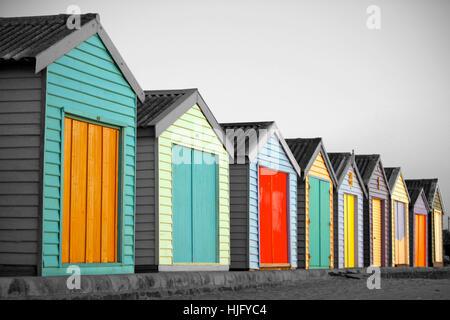 Cabines de plage à Melbourne, Australie Banque D'Images