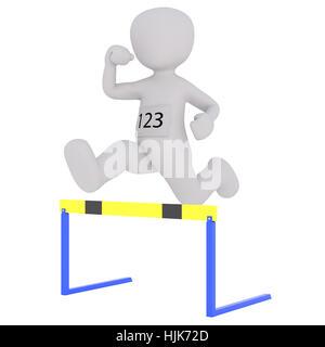 Le Rendu 3D de personnage portant le numéro de concurrent sur l'estomac tout en sautant au dessus de l'Obstacle Banque D'Images