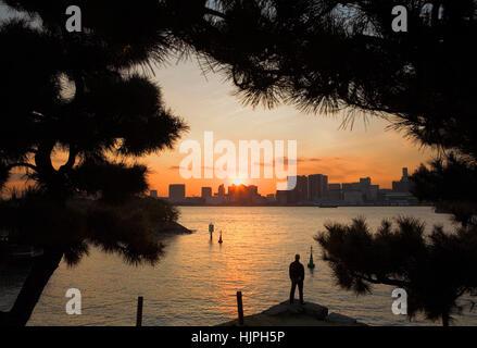 Temps libre, homme, coucher de soleil, paysage urbain, panorama, bord de mer de Tokyo, vu du parc Daiba à Odaiba Banque D'Images