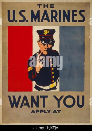 Doigt marine, 'Les Marines des États-Unis veulent que vous', affiche de recrutement, la Première Guerre mondiale, Banque D'Images