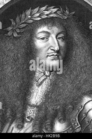 LOUIS XIV de France dans une gravure de 1700 Banque D'Images
