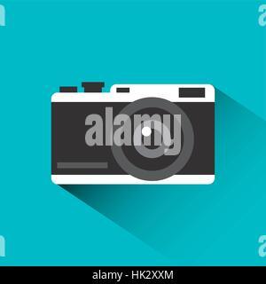 L'icône de caméra photographique sur fond bleu. design coloré. vector illustration Banque D'Images
