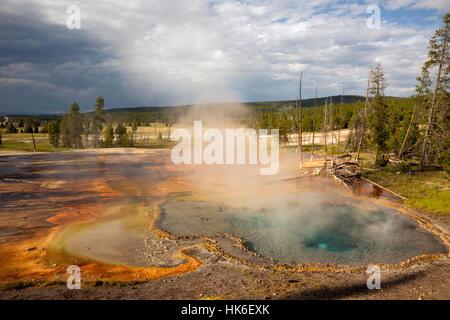 WY02192-00...WYOMING - Printemps Firehole Firehole sur dur dans le Parc National de Yellowstone. Banque D'Images