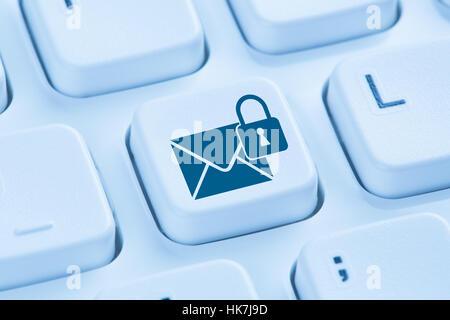 L'envoi d'e-mail crypté sécurisé protection internet mail bleu symbole clavier de l'ordinateur Banque D'Images