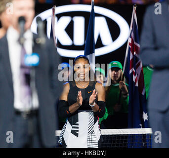 Melbourne, Australie. 28 janvier, 2017. Serena Williams, de l'USA remporte son 23e titre du Grand Chelem à l'Open Banque D'Images