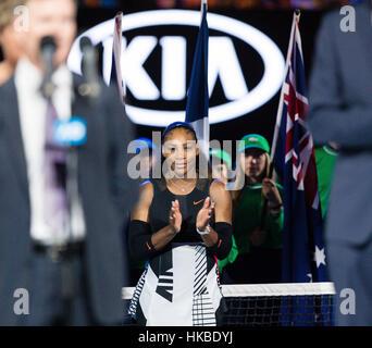 Melbourne, Australie. 28 janvier, 2017. Serena Williams, de l'USA remporte son 23e titre du Grand Chelem à l'Open Banque D'Images