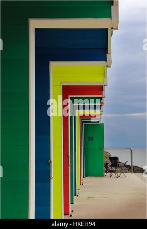 Cabines de plage de l'île de Barry Banque D'Images