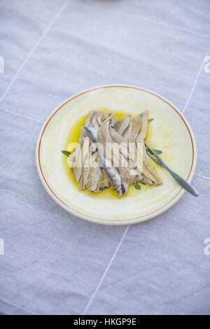 Sardines fraîches sur plaque. repas, nourriture, salé, l'alimentation saine. Banque D'Images