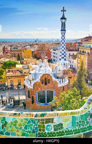 Parc Guell d'Antoni Gaudi, Barcelone, Catalogne, Espagne Banque D'Images