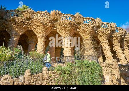 Barcelone - Parc Guell d'Antoni Gaudi, Espagne Banque D'Images