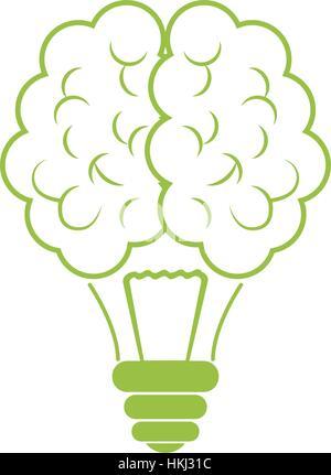 Cerveau vert icône lampe design, l'image d'illustration vectorielle Banque D'Images