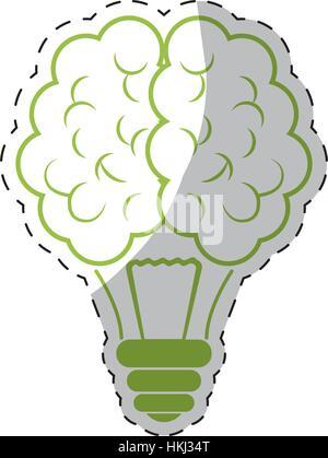 Ampoule verte icône cerveau droit d'illustration vectorielle, design Banque D'Images