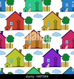 Arrière-plan transparent, Maisons de Pays Banque D'Images