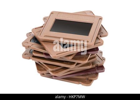 Pile de diapositives de photo isolé sur fond blanc avec clipping path Banque D'Images