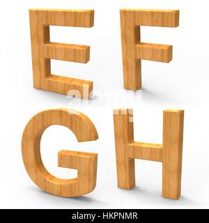 Lettres alphabet en bois 3d Banque D'Images