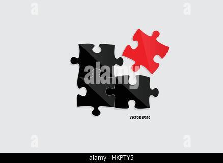 Coupe papier de puzzle. Vector illustration. Banque D'Images