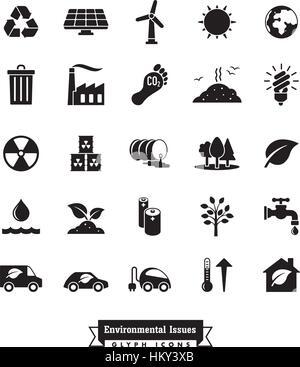 Collection de l'environnement et vecteur icônes glyphe liés au climat Banque D'Images