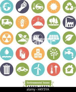 Collection de l'environnement et des changements relatifs ronde couleur vector icons Banque D'Images