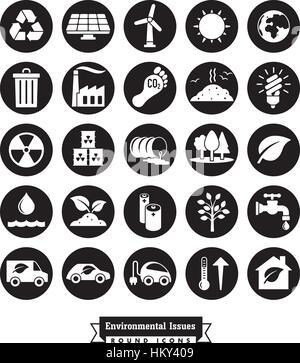 Collection de l'environnement et changements des icônes vectorielles rond noir Banque D'Images