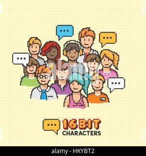 Un groupe de jeunes adultes en caractères de 16 bits. Vector illustration Banque D'Images