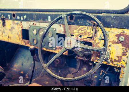 Intérieur de voiture d'époque ('image filtrée traitées effet vintage. ) Banque D'Images