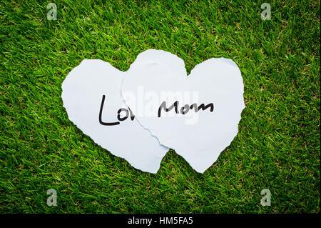 Deux coeur sur fond d'herbe verte avec des mots l'amour maman Banque D'Images