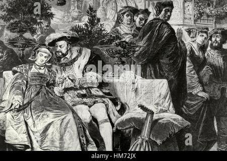 Henry VIII (1491-1547). Roi d'Angleterre. Henry VIII avec Anne Boleyn (1501-1536) au Palais du Cardinal Wolsey. Banque D'Images