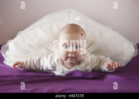 Portrait of Baby Boy (18-23 mois) lying on bed