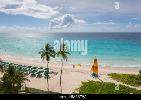 Worthing Beach, Christ Church, Barbade, Antilles, Caraïbes, Amérique Centrale Banque D'Images