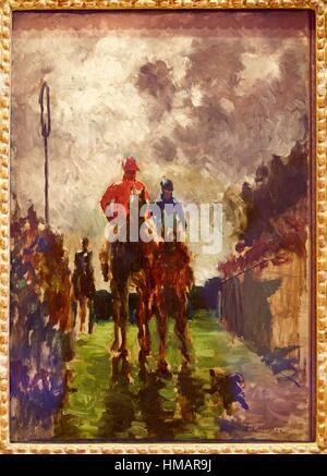 '''Les Jockeys'',1882, Henri de Toulouse-Lautrec, musée Thyssen-Bornemisza, Madrid, Espagne Banque D'Images