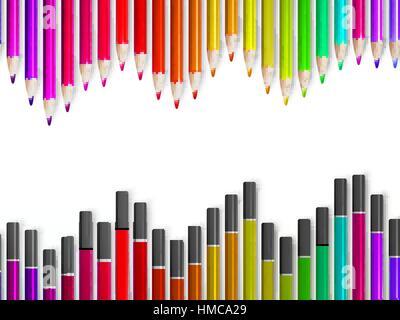 Retour à la frontière de l'école d'pensils multicolore isolé sur fond blanc. plus de fichier vectoriel EPS10 Banque D'Images