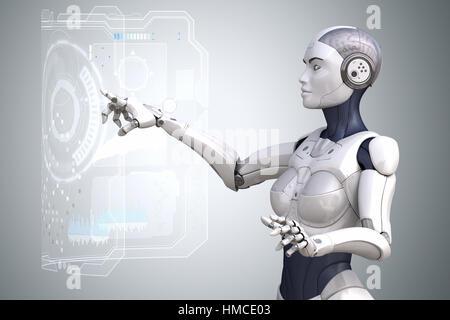 Robot est le travail avec l'écran tactile de la réalité virtuelle. 3D illustration Banque D'Images