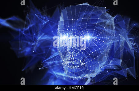 Concept du réseau de neurones. 3D illustration Banque D'Images