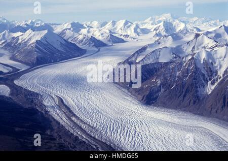 Donjec glacier de l'air, parc national Kluane, Yukon (Yukon), Canada. Banque D'Images